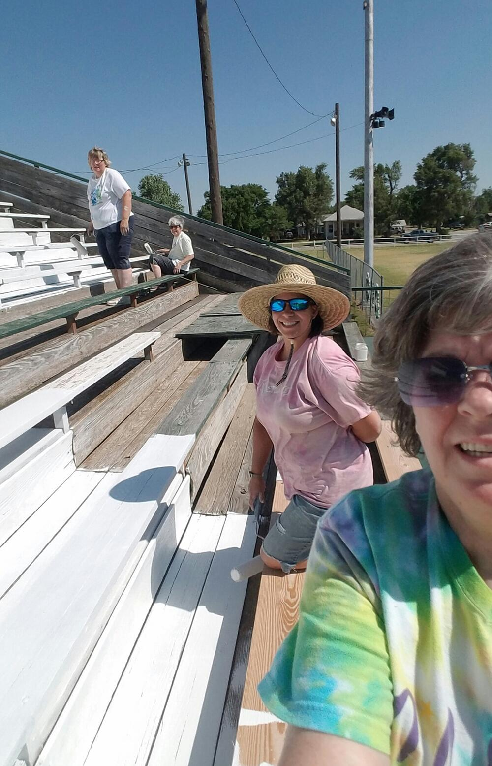Painting the bleachers